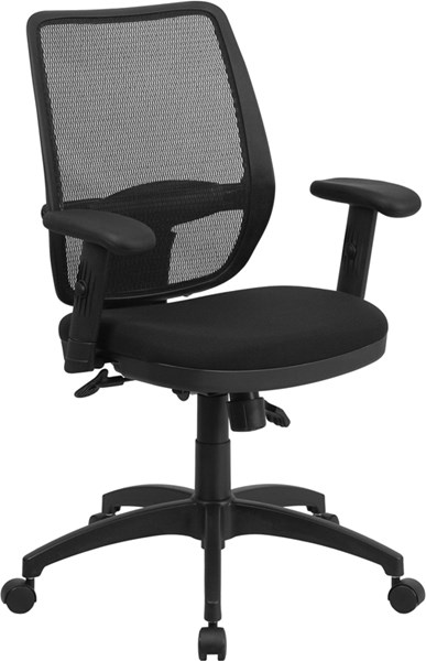 Contemporary Black Mesh Metal Plastic Mid-Back Mesh Chairs FLF-WR72BLACK-GG-OFF-CH-VAR