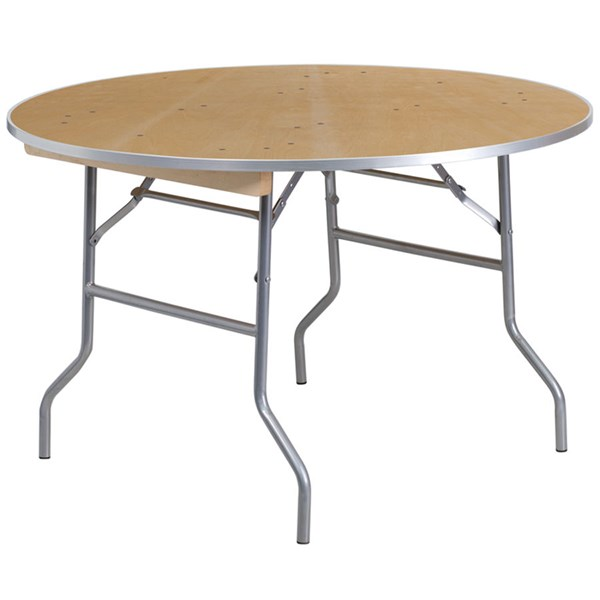 48 Inch Round Heavy Duty Birchwood Folding Banquet Table W/Metal Edges FLF-XA-48-BIRCH-M-GG