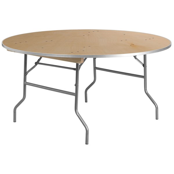60 Inch Round Heavy Duty Birchwood Folding Banquet Table W/Metal Edges FLF-XA-60-BIRCH-M-GG
