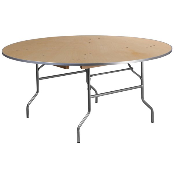 Flash Furniture 66 Inch Round Heavy Duty Birchwood Folding Banquet Table FLF-XA-66-BIRCH-M-GG
