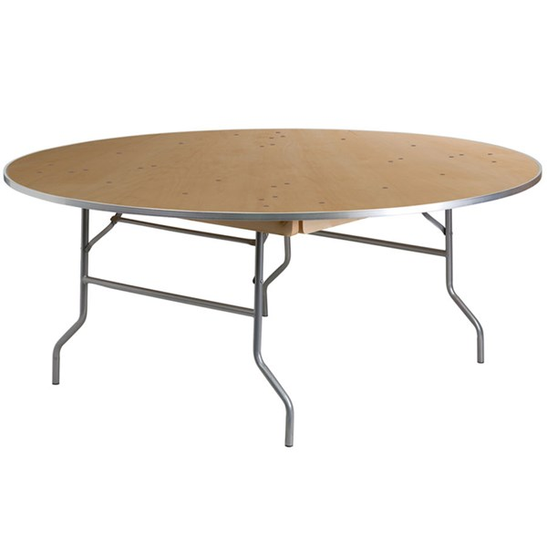72 Inch Round Heavy Duty Birchwood Folding Banquet Table W/Metal Edges FLF-XA-72-BIRCH-M-GG