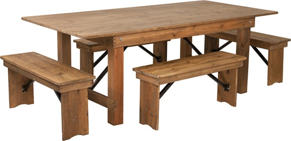 Flash Furniture Hercules Rustic Pine Wood 5pc Dining Room Set With Bench FLF-XA-FARM-1-GG