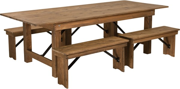 Flash Furniture Hercules Rustic Pinewood 5pc Dining Room Set With Bench FLF-XA-FARM-2-GG