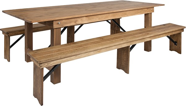 Flash Furniture Hercules Rustic Pine Wood 3pc Dining Room Set With Bench FLF-XA-FARM-4-GG