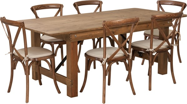 Flash Furniture Hercules Rustic 7pc Dining Room Set FLF-XA-FARM-9-GG