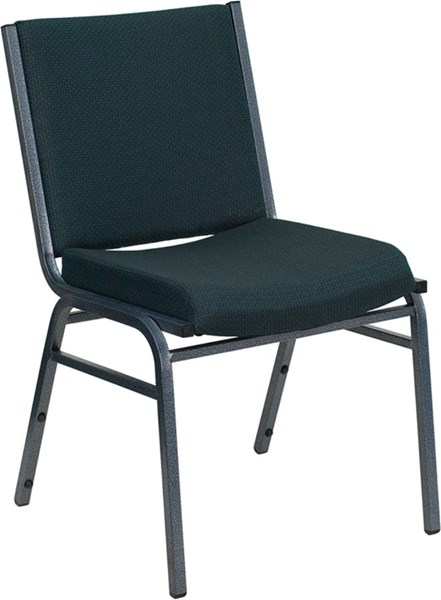 Heavy Duty 3 Inch Thickly Padded Green Pattern Upholstered Stack Chair FLF-XU-60153-GN-GG