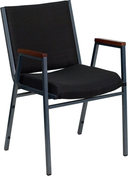 Flash Furniture Hercules Heavy Duty 3 Inch Black Upholstered Stack Arms Chair FLF-XU-60154-BK-GG