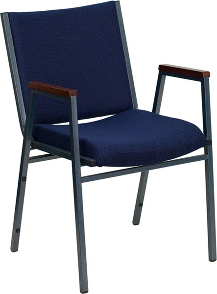 Heavy Duty 3 Inch Padded Navy Pattern Upholstered Stack Arm Chair FLF-XU-60154-NVY-GG