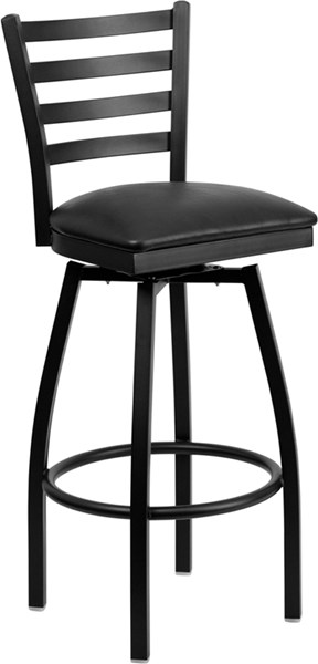 Black Ladder Back Swivel Metal Bar Stool - Black Vinyl Seat FLF-XU-6F8B-LADSWVL-BLKV-GG