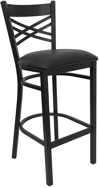 Black X Back Metal Restaurant Bar Stools - Vinyl Seat FLF-XU-6F8BXBK-BAR-GG-VAR