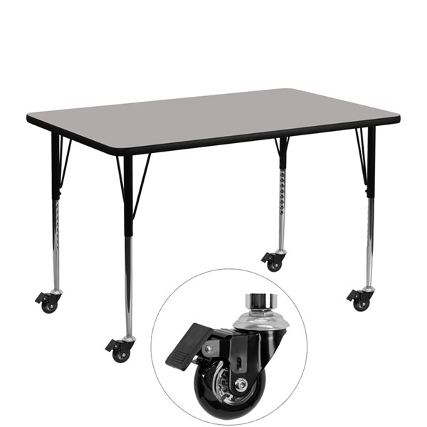 Flash Furniture Mobile 24 X 48 Activity Table with Gray Laminate Top FLF-XU-A2448-REC-GY-H-A-CAS-GG