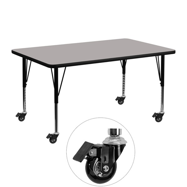 Flash Furniture Mobile 24 X 48 Activity Table with Grey Laminate Top and Adjustable Legs FLF-XU-A2448-REC-GY-H-P-CAS-GG