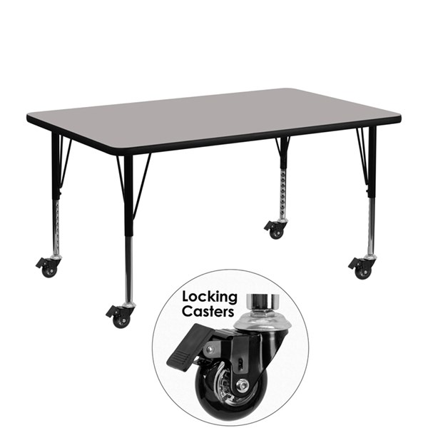 Mobile 24 x 48 Activity Table w/Grey Laminate Top & Adjustable Legs FLF-XU-A2448-REC-GY-H-P-CAS-GG