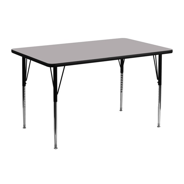 Flash Furniture 24 X 48 Grey Thermal Fused Laminate Top Activity Table FLF-XU-A2448-REC-GY-T-A-GG