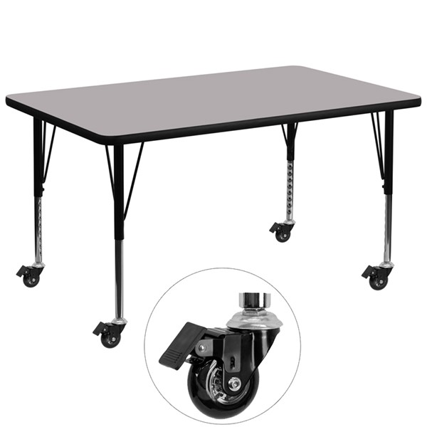 Flash Furniture Gray Wood Chrome Steel Thermal Fused Laminate Top Table FLF-XU-A2448-REC-GY-T-P-CAS-GG