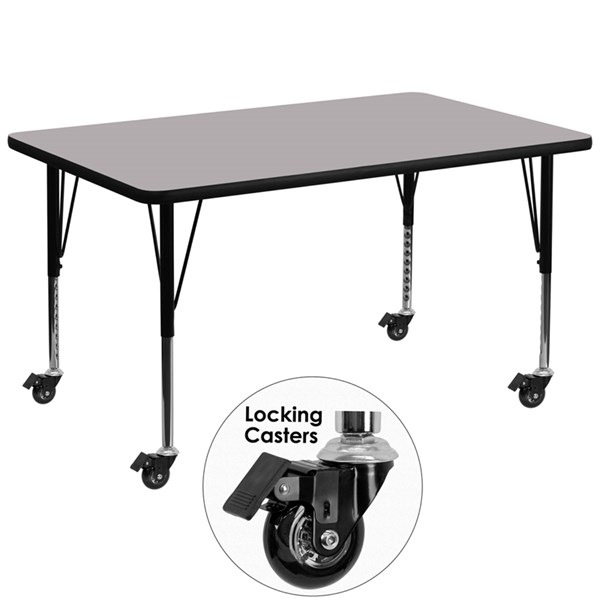 Gray Chrome Steel Thermal Fused Laminate Top Table (L 48 X W 24) FLF-XU-A2448-REC-GY-T-P-CAS-GG