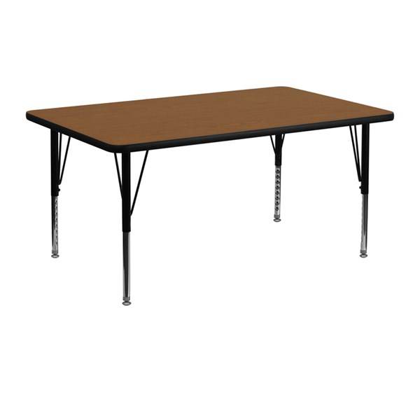 24 x 48 Activity Table w/Oak Laminate Top & Adjustable Preschool Legs FLF-XU-A2448-REC-OAK-H-P-GG