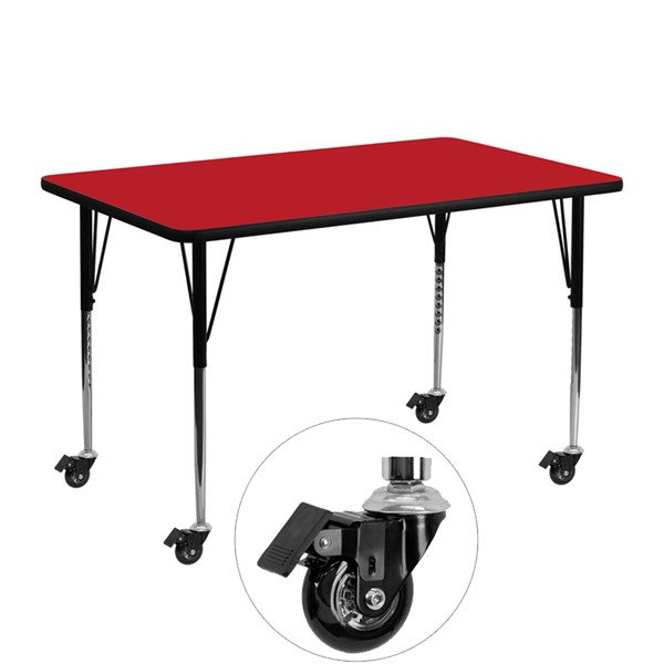 Flash Furniture Mobile 24 X 48 Activity Table with Red Laminate Top FLF-XU-A2448-REC-RED-H-A-CAS-GG
