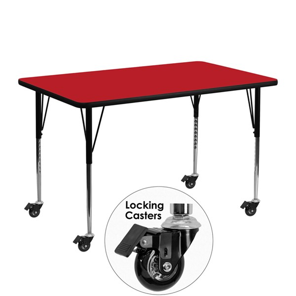 Mobile 24 x 48 Activity Table w/Red Laminate Top & Standard Legs FLF-XU-A2448-REC-RED-H-A-CAS-GG