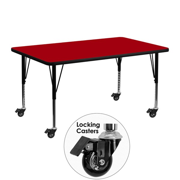 Red Chrome Steel Thermal Fused Laminate Top Table (L 48 X W 24) FLF-XU-A2448-REC-RED-T-P-CAS-GG