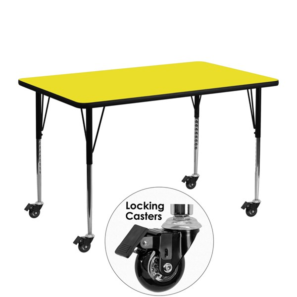 Mobile 24 x 48 Activity Table w/Yellow Laminate Top & Standard Leg FLF-XU-A2448-REC-YEL-H-A-CAS-GG
