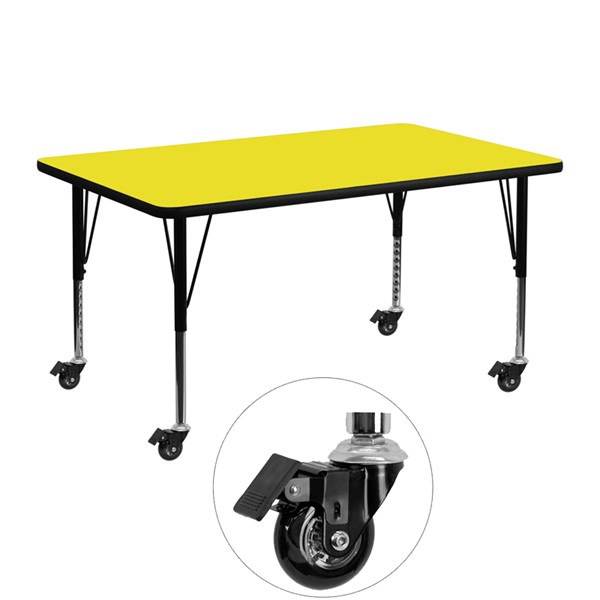 Flash Furniture Mobile 24 X 48 Activity Table with Yellow Laminate Top and Adjustable Legs FLF-XU-A2448-REC-YEL-H-P-CAS-GG