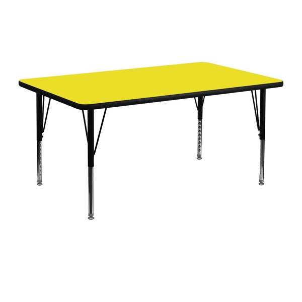 Flash Furniture 24 X 48 Activity Table with Yellow Laminate Top and Adjust Preschool Legs FLF-XU-A2448-REC-YEL-H-P-GG