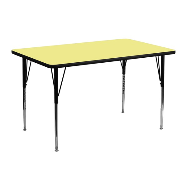 24 x 48 Activity Table w/Yellow Thermal Fused Laminate Top FLF-XU-A2448-REC-YEL-T-A-GG