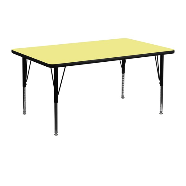24 x 48 Activity Table with Yellow Thermal Fused Laminate Top FLF-XU-A2448-REC-YEL-T-P-GG