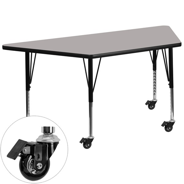 Flash Furniture Mobile 24 X 48 Trapezoid Activity Table with Thick Gray Laminate Top FLF-XUA2448-TRAP-GY-HPCAS-GG