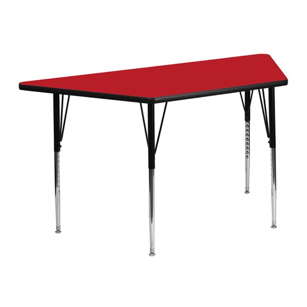 24 W X 48 L Trapezoid Activity Table W/Red Top & Adjustable Legs FLF-XU-A2448-TRAP-RED-H-A-GG
