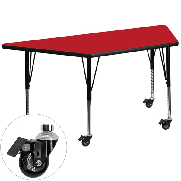 Flash Furniture Mobile 24 X 48 Trapezoid Activity Table with Thick Red Laminate Top FLF-XUA2448TRAP-RDHPCASGG