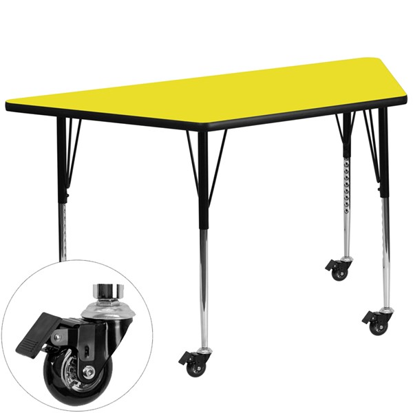 Flash Furniture Yellow Wood Chrome Laminate Steel Trapezoid Activity Table FLF-XU-A2448-TRAP-YEL-H-A-CAS-GG
