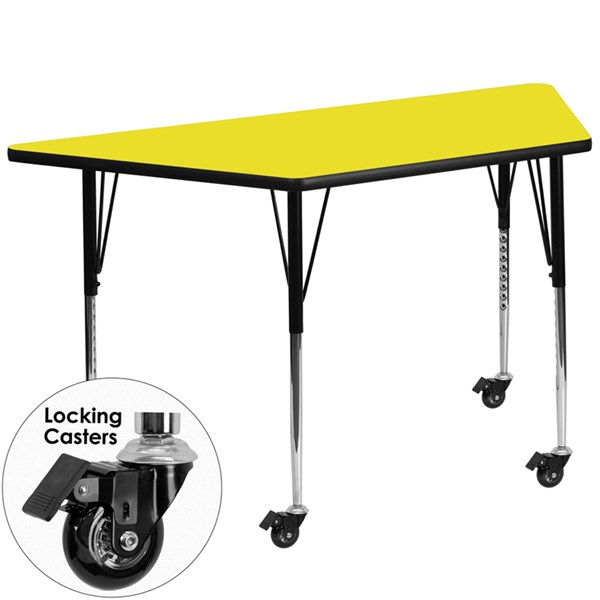 Yellow Metal Wood Mobile Trapezoid Activity Table FLF-XU-A2448-TRAP-YEL-H-A-CAS-GG