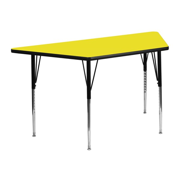 24 W X 48 L Trapezoid Activity Table W/Yellow Top & Adjustable Legs FLF-XU-A2448-TRAP-YEL-H-A-GG