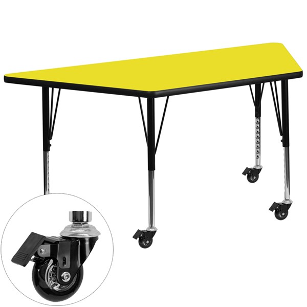 Flash Furniture Mobile 24 X 48 Trapezoid Activity Table with Thick Yellow Laminate Top FLF-XUA2448TRAP-YELHPCASGG