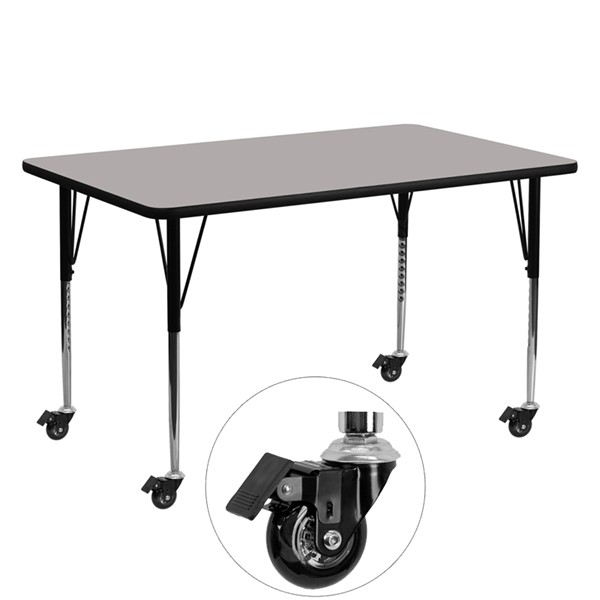 Flash Furniture Gray Wood Metal Rectangle Activity Table FLF-XU-A2460-REC-GY-H-A-CAS-GG