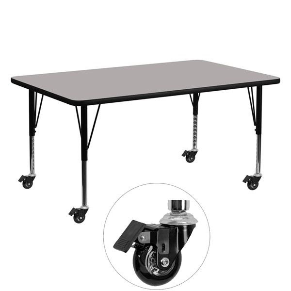 Flash Furniture Mobile 24 X 60 Rectangular Activity Table with Thick Gray Laminate Top FLF-XU-A2460-REC-GY-H-P-CAS-GG