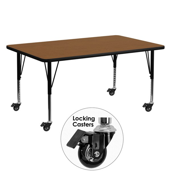 Mobile 24 x 60 Rectangular Activity Table with Thick Oak Laminate Top FLF-XU-A2460-REC-OAK-H-P-CAS-GG