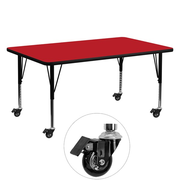 Flash Furniture Mobile 24 X 60 Rectangular Activity Table with Thick Red Laminate Top FLF-XUA2460-REC-RED-HPCAS-GG
