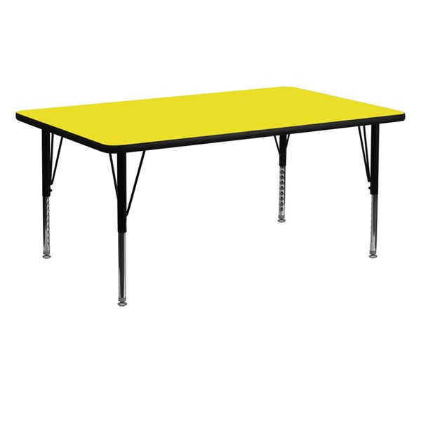 Flash Furniture Rectangular Activity Table with Yellow Top and Pre-School Legs FLF-XU-A2460-REC-YEL-H-P-GG