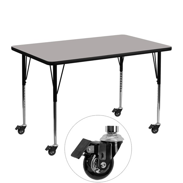 Flash Furniture Mobile 30 X 48 Rectangular Activity Table with Thick Grey Laminate Top FLF-XU-A3048-REC-GY-H-A-CAS-GG