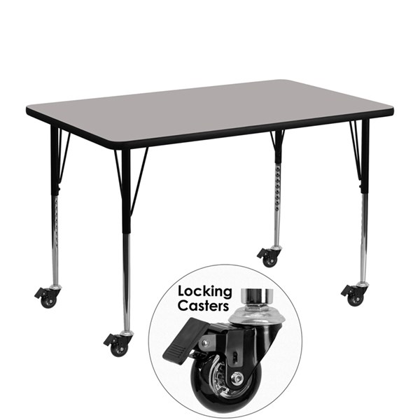 Mobile 30 x 48 Rectangular Activity Table with Thick Grey Laminate Top FLF-XU-A3048-REC-GY-H-A-CAS-GG
