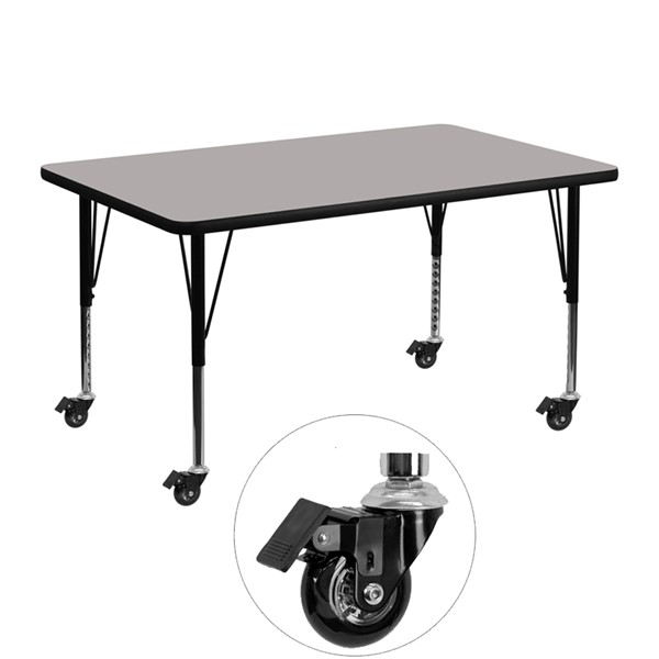 Flash Furniture Gray Wood Metal Mobile Rectangle Activity Table with Adjustable Legs FLF-XU-A3048-REC-GY-H-P-CAS-GG