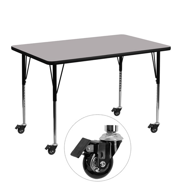 Flash Furniture Gray Wood Metal Mobile Rectangle Activity Table FLF-XU-A3048-REC-GY-T-A-CAS-GG