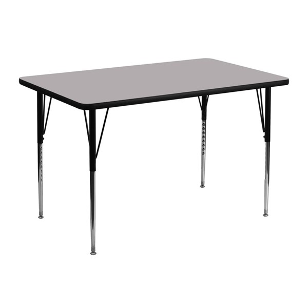 Flash Furniture Rectangular Table with Grey Thermal Top and Adjustable Legs FLF-XU-A3048-REC-GY-T-A-GG