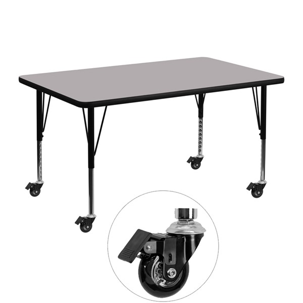 Flash Furniture Mobile 30 X 48 Activity Table with Grey Thermal Fused Laminate Top FLF-XU-A3048-REC-GY-T-P-CAS-GG