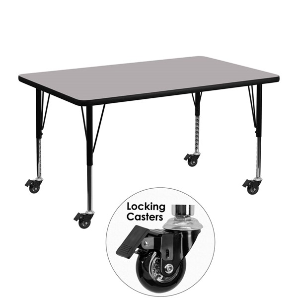 Mobile 30 x 48 Activity Table with Grey Thermal Fused Laminate Top FLF-XU-A3048-REC-GY-T-P-CAS-GG