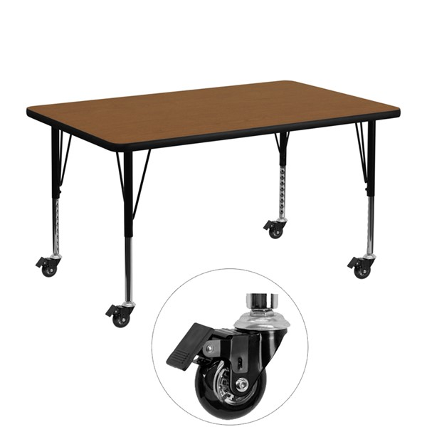 Flash Furniture Oak Wood Metal Mobile Rectangle Activity Table with Adjustable Legs FLF-XU-A3048-REC-OAK-H-P-CAS-GG
