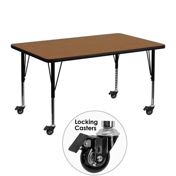 Mobile 30 x 48 Activity Table with Thermal Fused Laminate Top FLF-XU-A3048-REC-T-P-CAS-GG-KDSK-VAR